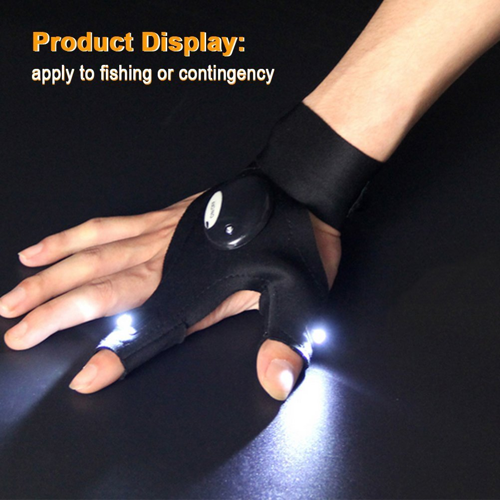 LED Flashlight Magic Strap Fingerless Gloves By Fomatrade Pack 2 LED light for Repairing in Darkness Places and Outdoor Activities Essential Equipment (1pair)