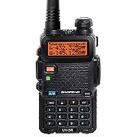 BAOFENG UV-5R - Transceptor portátil (radio FM, DTMF, 400-480 MHz, CTCSS), color negro