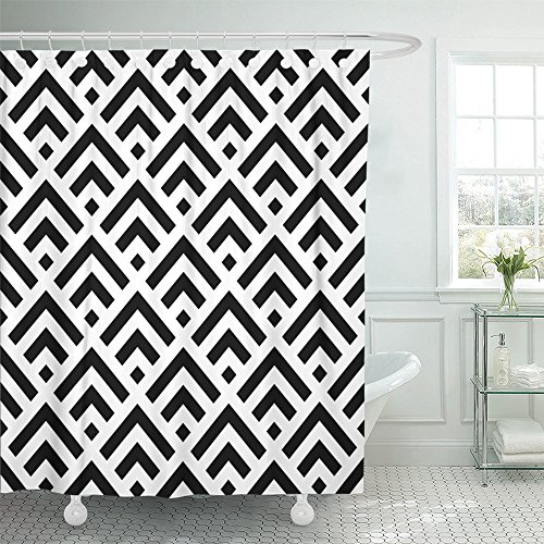 Emvency Shower Curtain 72x78 Inch Home Postcard Decor Print Fabric Bathroom Chinese Window Tracery Black Squares And Angle Brackets On White Scallop With Scales Shower Hooks are ()
