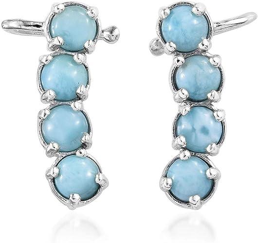 Elegant Oval Larimar /& Amethyst .925 Sterling Silver Earrings