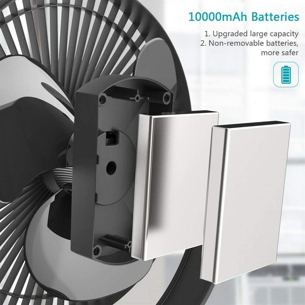 10000mAh 8-Inch batteria ricaricabile Operated Clip On ventilatore, aria circolante USB Fan, portatile (Color : Bianca) Nero