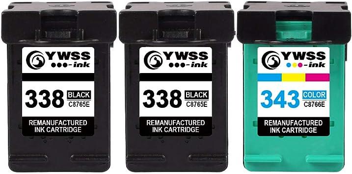 YWSS Remanufacturado Cartucho de tinta para HP 338 HP 343 HP338 343 Alto rendimiento Cartucho de tinta (2 Negro +1 Tricolor) C8765E /C8766E para HP DeskJet 460/5740/6540/6620/6840/9800/6540 6540D 5740: Amazon.es: Electrónica