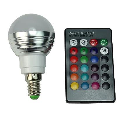 Pixnor - Bombillas led RGB, E14, 3 W, con mando para cambiar a