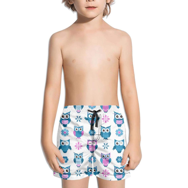 Boys Swim Trunks Animal owl Cartoon Bird Blue Pattern Quick Dry Bathing Suits Beach Board Shorts