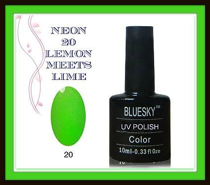 Uñas de gel UV LED Bluesky 10ml esmalte neón resoluble verde lima, 1er Pack (1 x 10 ml): Amazon.es: Belleza