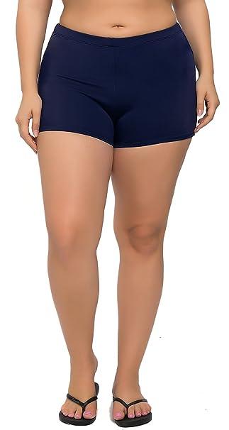7da7e358b5c57 Sociala Women s Plus Size Swim Shorts Boyleg Tankini Swimwear Bottom  Boardshorts at Amazon Women s Clothing store