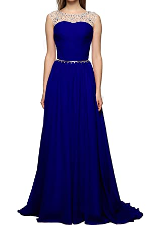 Judi Dench@ Womens Elegant Chiffon Long Round Neck Sleeveless Party Dresses Prom Dresses , size