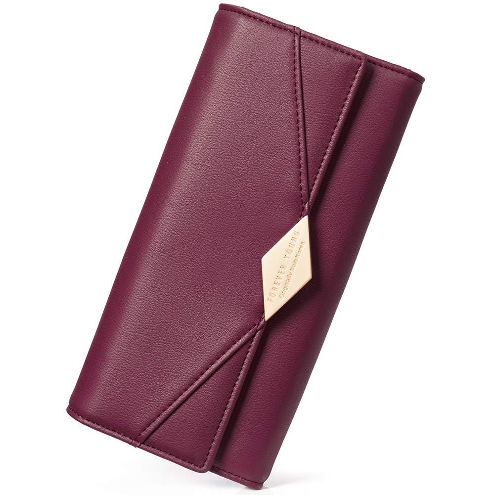 Damen Geldb/örse Leder Kreditkarte Halter Lang Portemonnaie Handy Geldbeutel Frauen mit Druckknopf grau