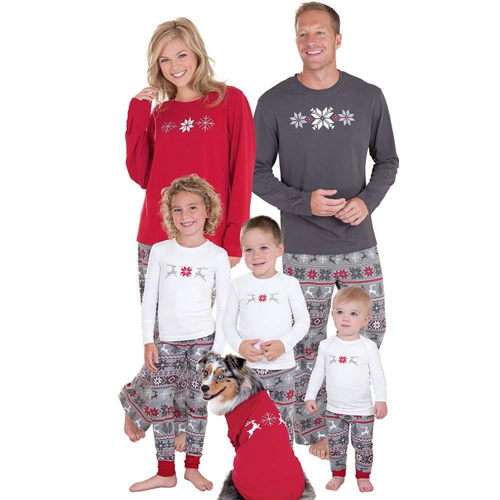 Gusspower Ropa Conjunto de Pijamas Familiares de Navidad para Familia Traje Mujer Hombre Niños Sudadera Manga Larga Impresión de Ciervo + Pantalones: ...