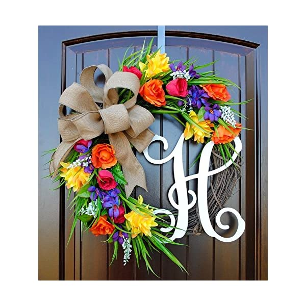 Monogram Letter Wreath for Front Door in 22 inch Diameter with Spring and Summer Flowers in Yellow, Purple, Red and Orange With or Without Matching Bow