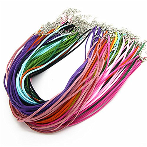 (Qitian Assorted Imitation Suede Leather Necklace Cords with Lobster Clasps Ropes 18'' 20pcs)