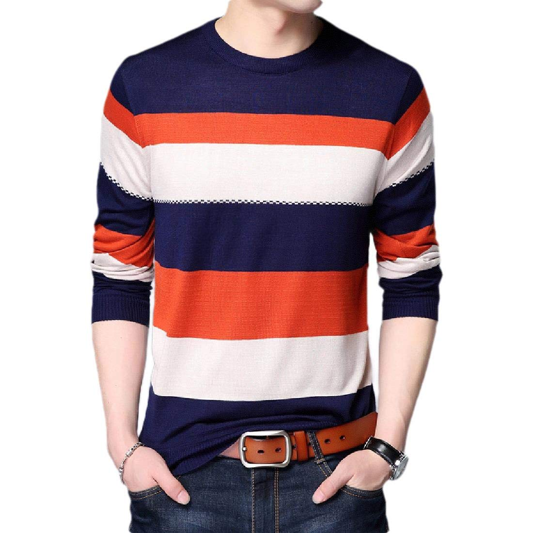 Zimaes-Men Pullover Stripe Pure Colour Long-Sleeve Mock Neck Tunic Shirt