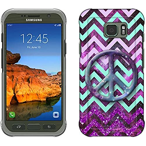 Samsung Galaxy S7 Active Case, Snap On Cover by Trek Peace on Chevron Green Purple on Nebula Slim Case Sales