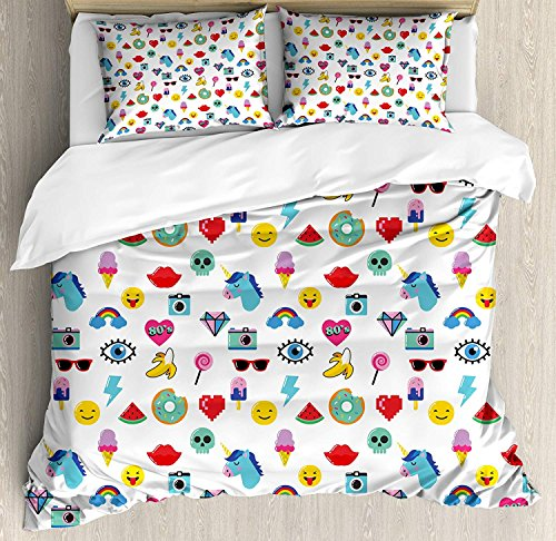 Emoji Duvet Cover 4 Piece Set Pop Art Style Cartoon Icons Unicorn Watermelon Banana Pixel Heart Thunder Bolt Eye Ultra Soft Microfiber Bedding Set with Zipper Closure & Ties Multicolor (Full Size)
