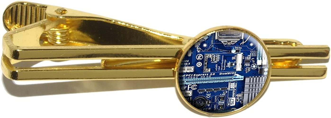 Processor CPU Memory Round Tie Bar Clip Clasp Tack Blue Computer Motherboard