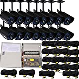 VideoSecu 16 Pack Infrared Day Night Outdoor Bullet Security Cameras 520 TVL 36 IR LEDs Built-in Mechanical IR-Cut filter switch for CCTV DVR Surveillance with Power Supply Box and Cables WD0