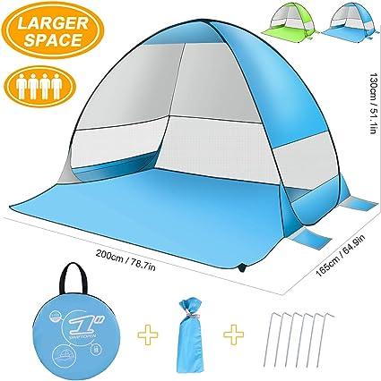 Abri de Soleil Automatique avec Protection Anti-UV et Anti-UV Facile /à Installer 3 Personnes SLB Tente de Plage Pop Up Tente Pare-Soleil Portable pour Les activit/és familiales Plage Camping
