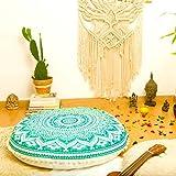 "Bohemian Décor Floor Cushion Cover - 30"" Round Floor Pillow Pouf Cover - Green -Hand Print Organic Cotton by Mandala Life ART"