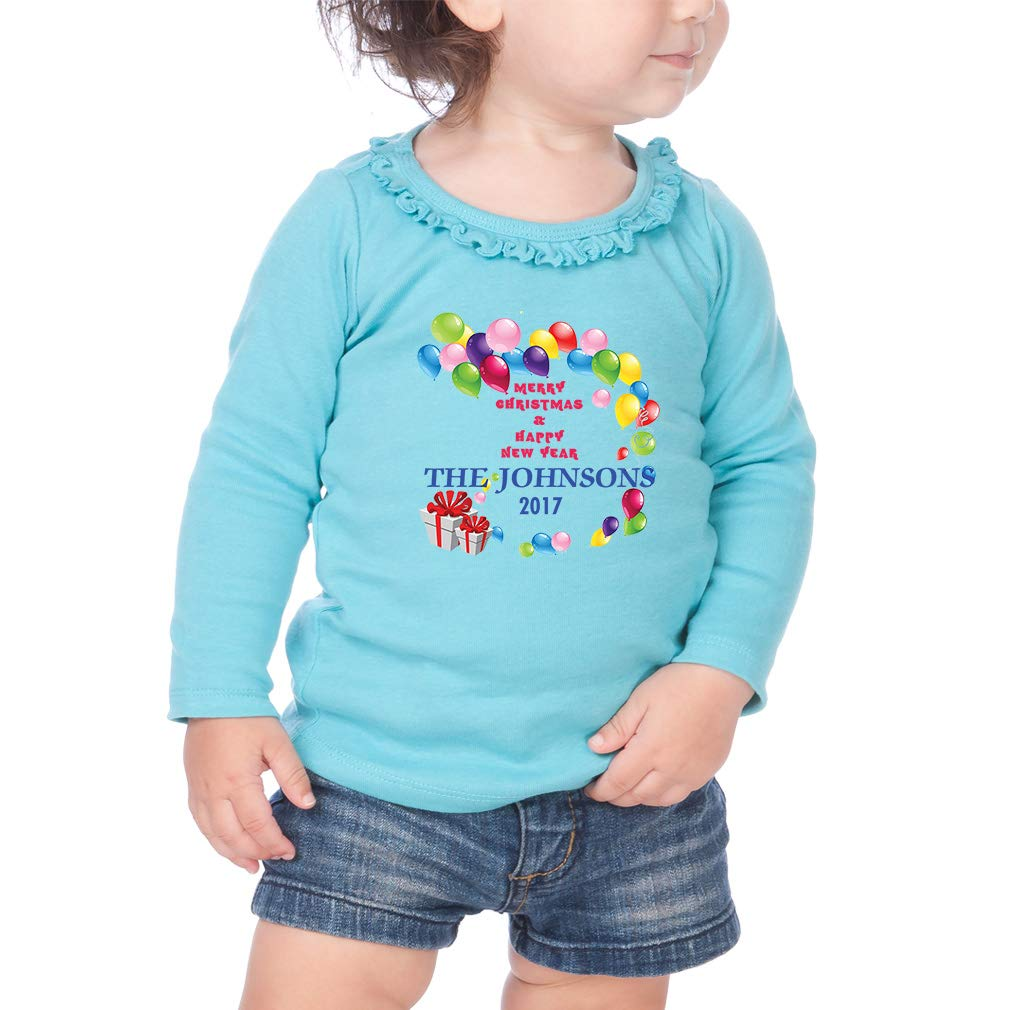 Custom Happy New Year Balloons Cotton Toddler Long Sleeve Ruffle Shirt Top