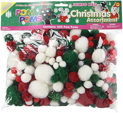 Pepperell Assorted Pom Poms, Christmas, 300 Per Package
