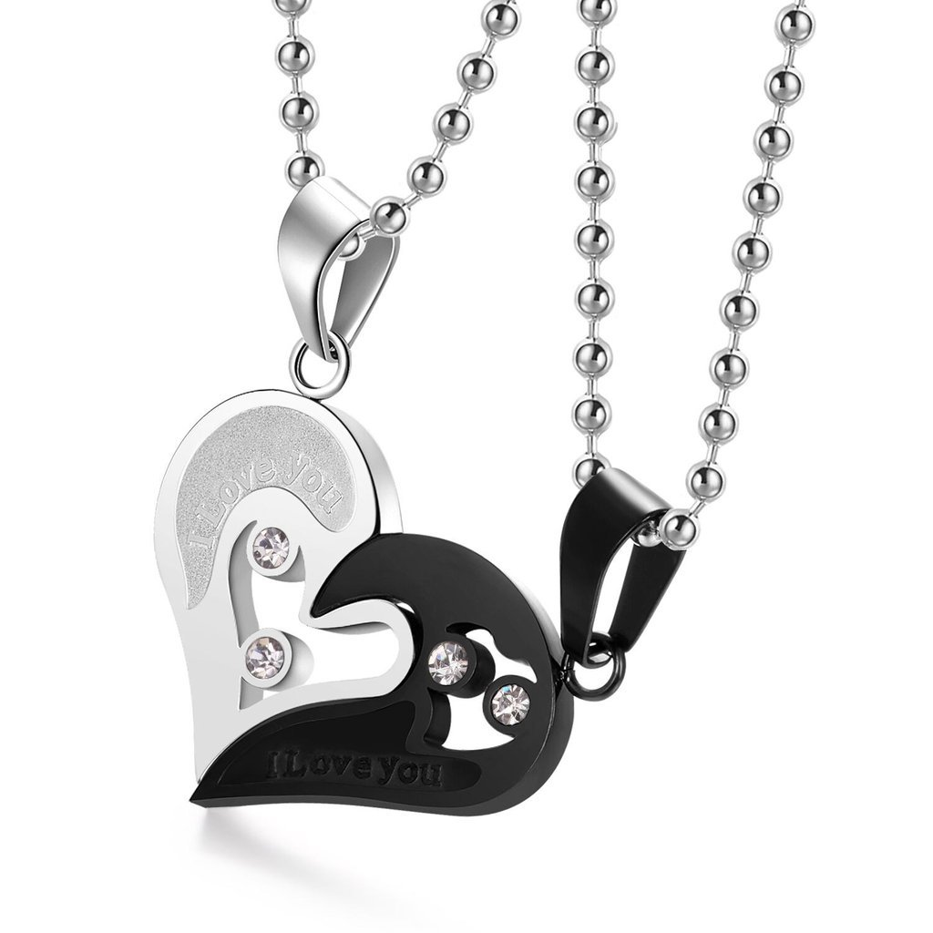 a9a31c2e56 Amazon.com: Evermarker Stianless Steel His & Hers Lover Heart-shape Couple  Pendant Necklace (Black&silver): Jewelry