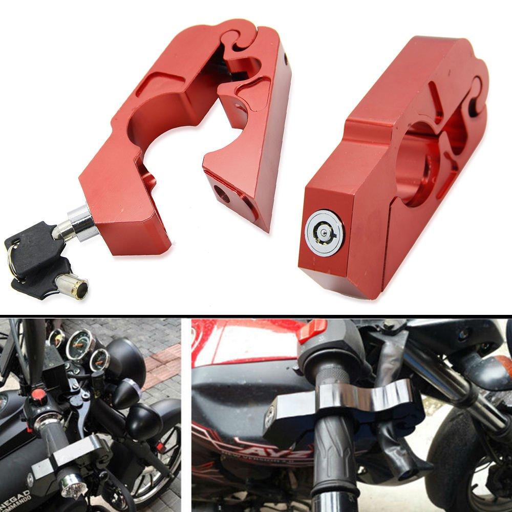 Lisyline Motorcycle Grip Lock Handlebar Grip Throttle Brake Lever Lock Anit Theft Security Caps Lock(red)