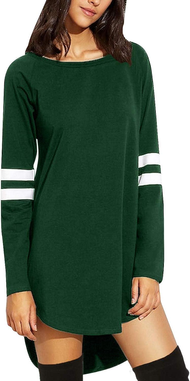 Womens Plain Irregular T-Shirt Long Sleeve Tunic Tops Blouse Baggy Tee Plus Size