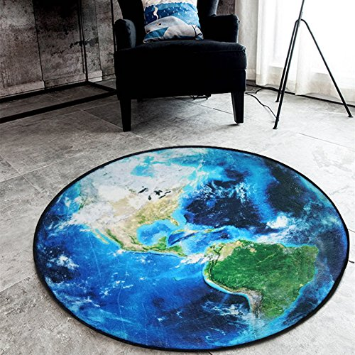 - 3D Earth Round Carpet Parlor Living Room Mats World Map Printed Children Kids Boy Bedroom Chair Circular Mat Bath Rug Home Use (Blue, Diameter 80cm/31inch)