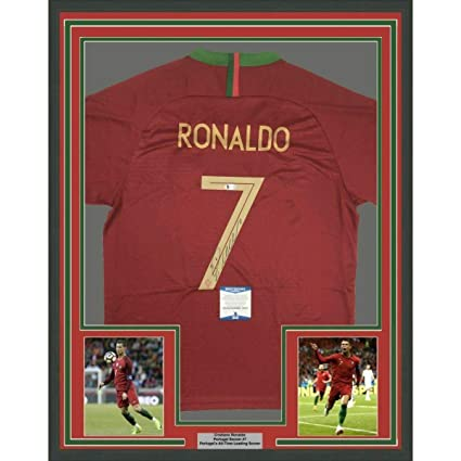buy online 718aa c8832 Cristiano Ronaldo Autographed Jersey - FRAMED 33x42 Red BAS ...