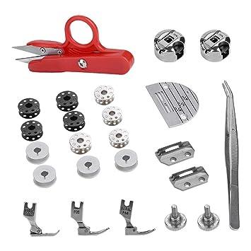 27 piezas de cama plana industrial Juego de costura Accesorios para máquinas de coser Repuestos regulares Juego de herramientas: Amazon.es: Hogar