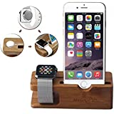 Apple Watch Stand Gold Cherry Bamboo Charging Dock Station Charger Holder Stand for Apple Watch Iwatch 38mm/42mm Iphone 5 5s 5c 6 6 Plus