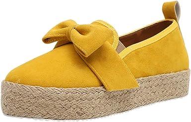 DressLksnf Zapatos de Fondo Grueso para Mujer Color Sólido ...