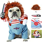 Coppthinktu Deadly Doll Dog Clothes Dog Costume Halloween Costumes for Dogs Adjustable Dog Cosplay Costume Funny Lethal…