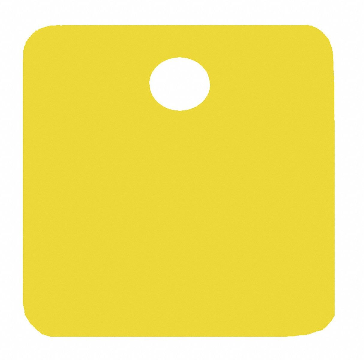 Yellow Blank Tag, Aluminum, Square, 1-1/4'' Height, 5 PK