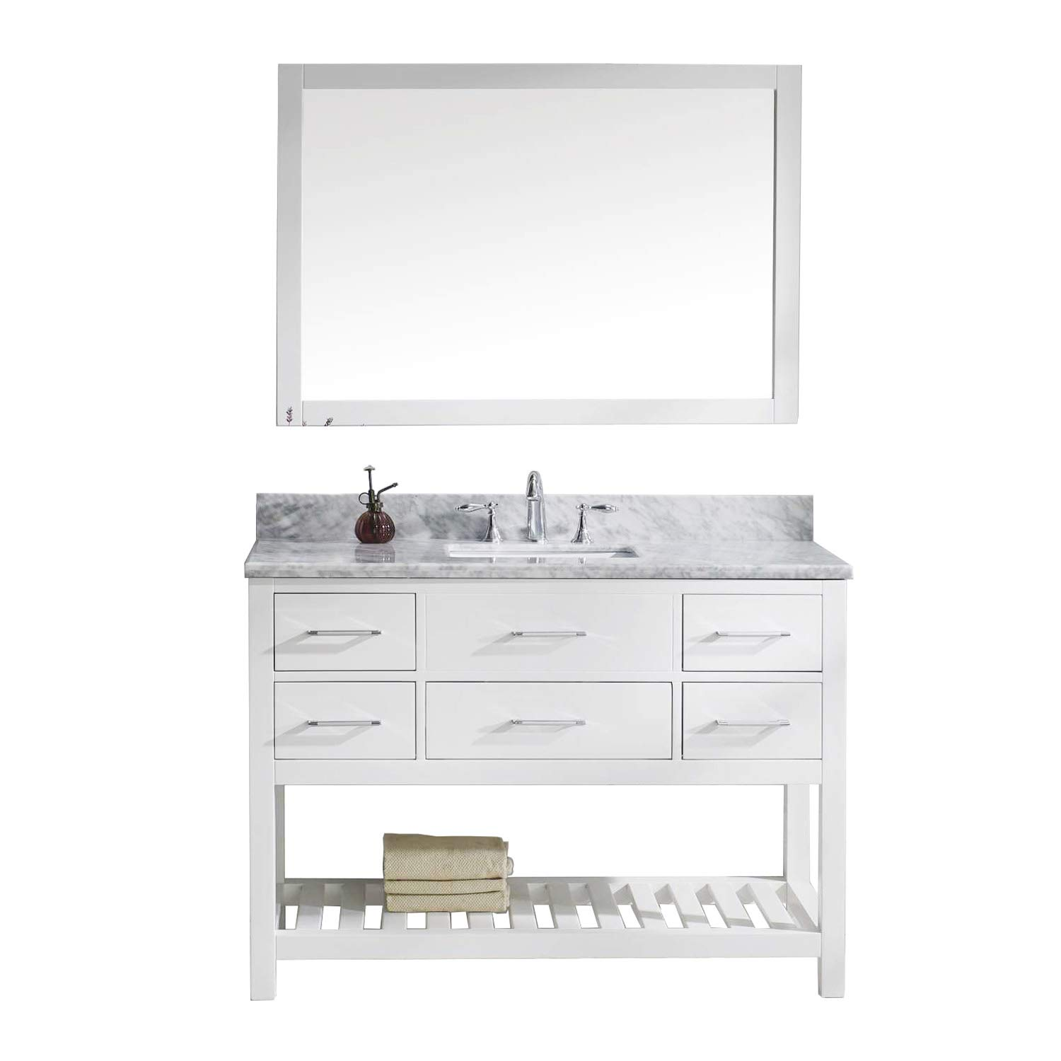Virtu USA Caroline Estate 48 inch Single Sink Bathroom Vanity Set in White w Square Undermount Sink, Italian Carrara White Marble Countertop, No Faucet, 1 Mirror – MS-2248-WMSQ-WH