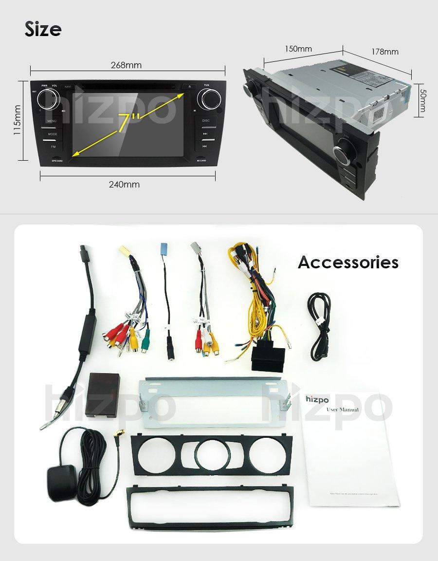 HIZPO Autoradio lecteur multim/édia f/ür BMW E 90/E91/E92/mit GPS Navi Unterst/ützt Caisson de basses Bluetooth USB microSD 17,8/cm