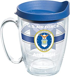 Tervis 1286936 Air Force Pride Tumbler with Wrap and Blue Lid 16oz Mug, Clear