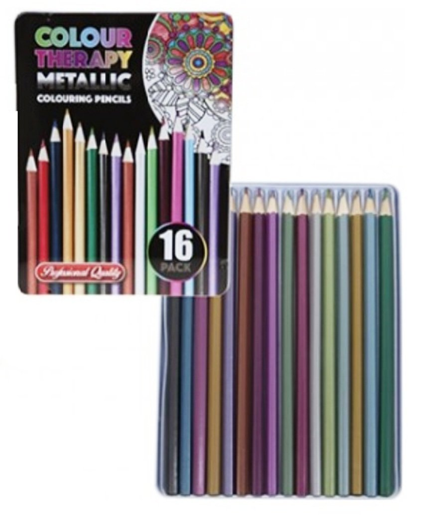 16 Piece Asst Colour Therapy Pro Metallic Pencils in Tin Case PMS