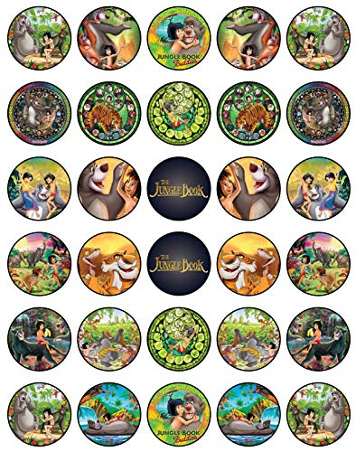 (30 x Edible Cupcake Toppers - The Jungle Book Themed Collection of Edible Cake Decorations | Uncut Edible Prints on Wafer Sheet)