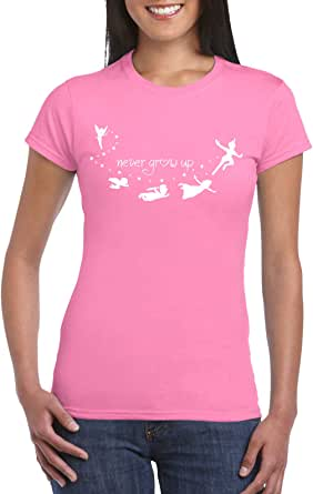 Pink Female Gildan Short Sleeve T-Shirt - Never Grow up design