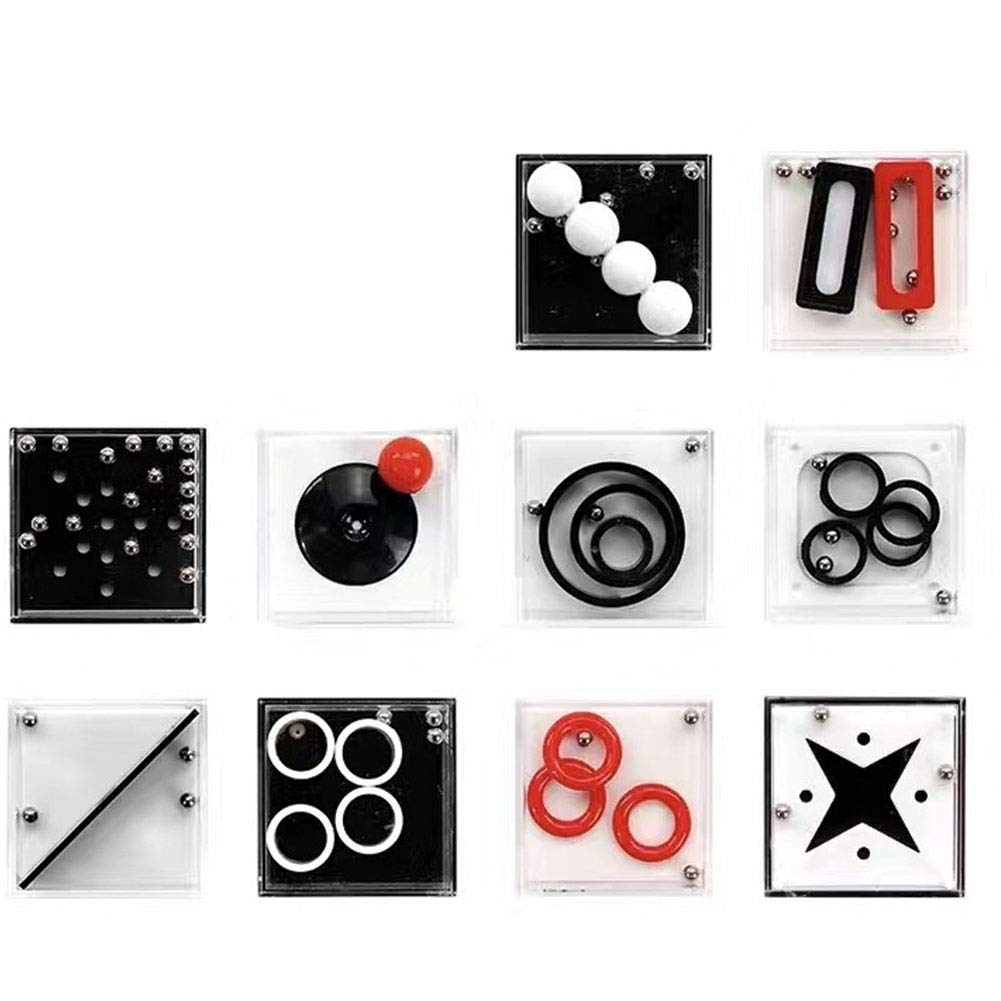Newin Star 10 Stück/Set Fidget Puzzle Boxes Mini Denkaufgabe Dekompression Game Box Herausforderung Spielzeug Anti-Stress Finger Spielzeug Lernspielzeug für Kinder Erwachsene, Zwischenstufe, Zufällig