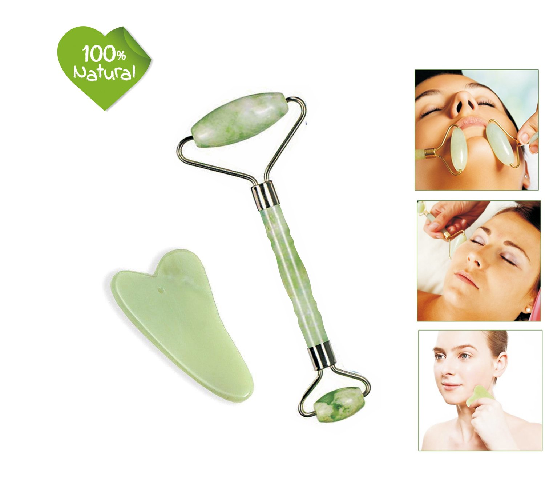 Jade Roller for Face and Gua Sha Scraping Massage Tool Set GEJULIC Jade Roller for Face Real Jade 100% Jade Facial Roller