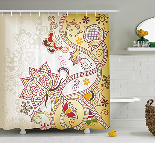 Floral Shower Curtain by Ambesonne, Asian Oriental Flower Ornaments Pattern Curvy Swirled Abstract Design Colorful Art, Fabric Bathroom Decor Set with Hooks, 70 Inches, Multicolor (Oriental Asian Fabric)