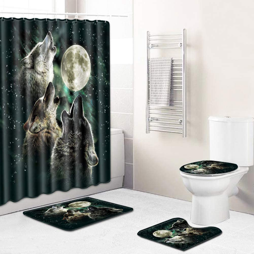 Boyouth 4Pcs Howling Wolf and Moon Pattern Digital Print Shower Curtains Sets with Bath Mat,Contour Rug,Toilet Lid Cover for Bathroom Decor