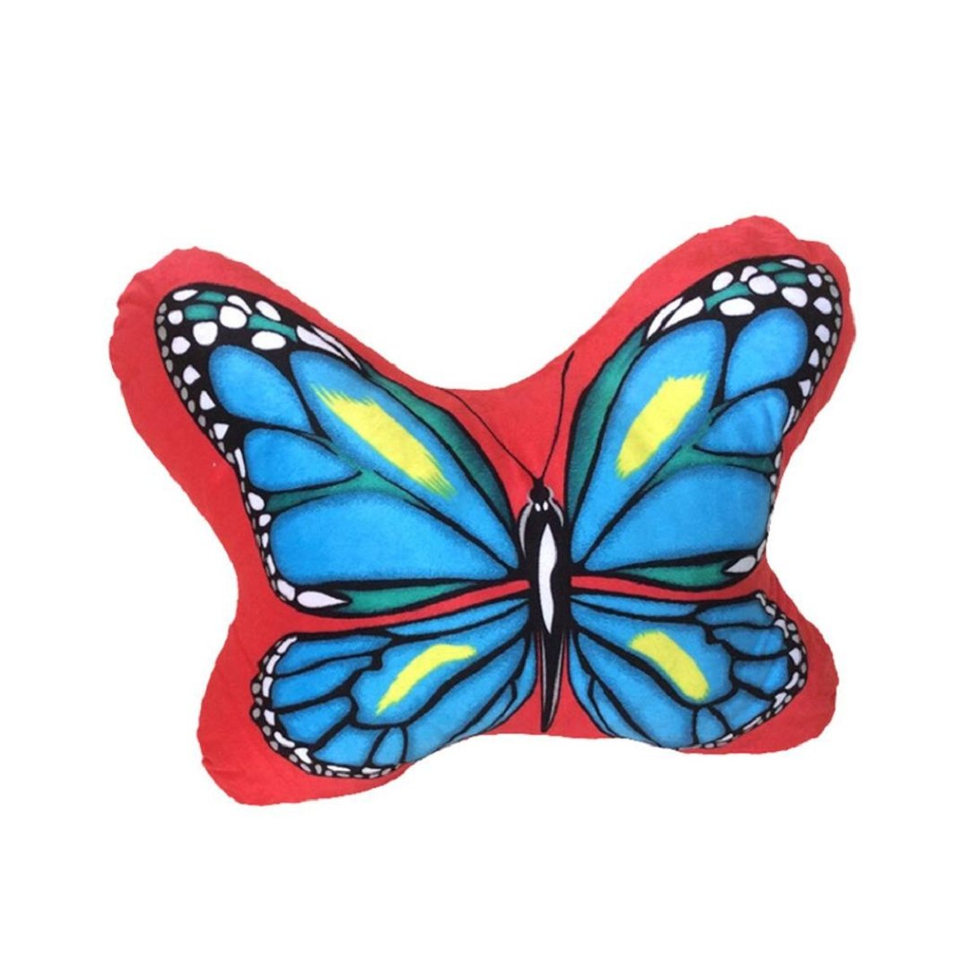 Cotton Body Pillow,Highpot Creative 3D Multicolored Butterfly Pillow Cushion Sofa Car Cushion Plush Toys Animal Birthday Gift (Red)