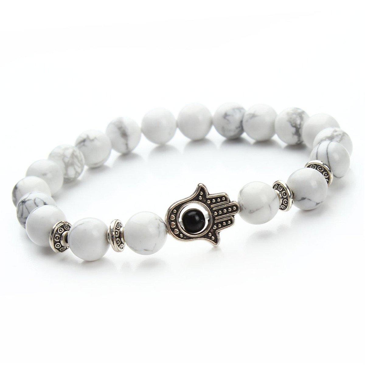 Natural Stone Lava Beads Bracelet Matte Energy Yoga Mala Bracelets With Hamsa Hand Charm XO 11937