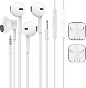 [2 Pack] Aux Earbuds/Earphones,3.5mm Wired Headphones Noise Isolating Earphones Volume Control & Built-in Microphone Compatible with iPhone/Samsung/Android/MP3/MP4