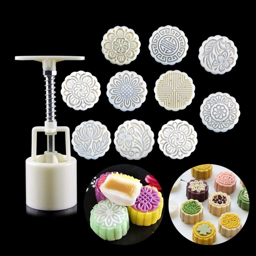 NOWON Stampo Mooncake 100g 10 Pezzi Francobolli Barile Pressa a Mano Moon Cake Stampo per Pasticceria Bakware