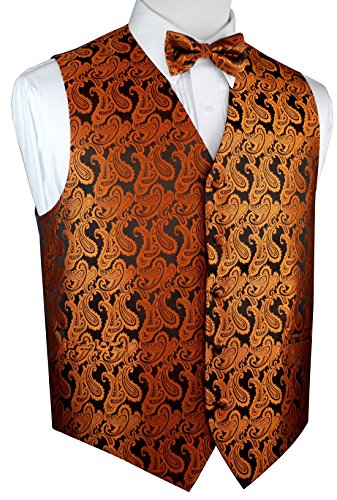 Brand Q Men's Formal Tuxedo Vest & Bow-Tie Set-Burnt Orange Paisley-M