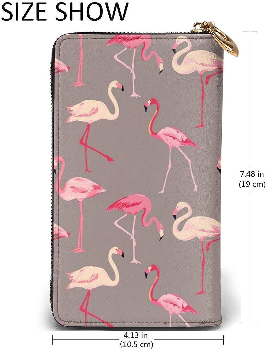 Genuine Leather Wallet Long Ladies Purse Handbag Multi Card Holder Organizer For Women Flamingo Bird Background Vector Image Customized